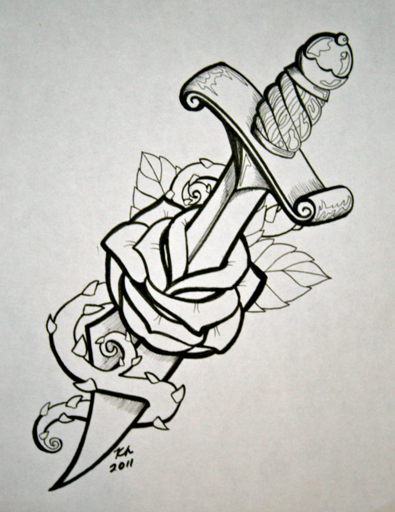 How To Draw Heart & Rose Floral Art Dagger With Rose By Knezak