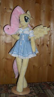 fluttershy anthro plushie blue maid dress