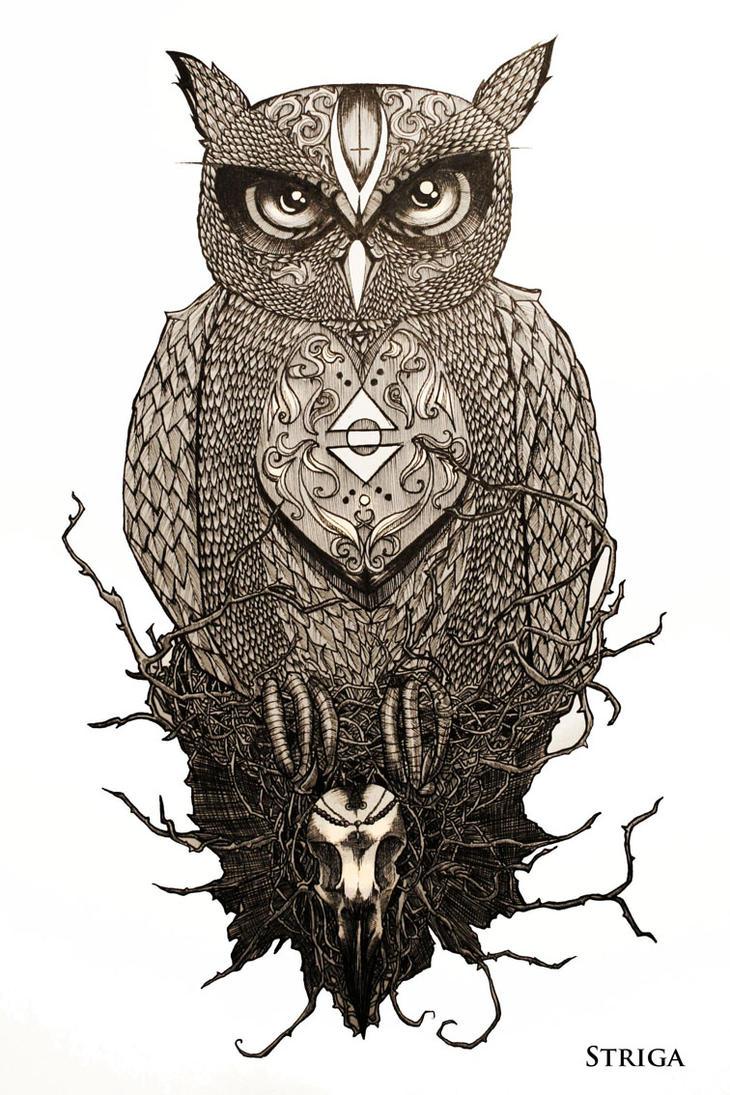 The owl tattoo design by striga art on deviantart for Owl tattoo designs