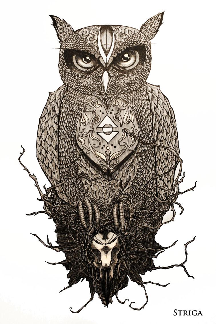 the owl tattoo design by striga art on deviantart. Black Bedroom Furniture Sets. Home Design Ideas
