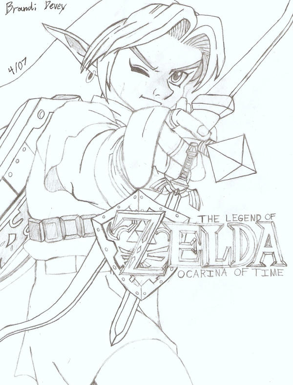 zelda from ocarena of time  free colouring pages