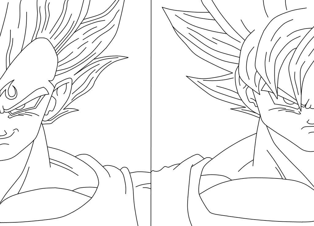 Majin Vegeta Vs Ssj2 Goku Lineart By Brusselthesaiyan On: Majin Vegeta_SSJ2 Goku By Bluepelt On DeviantArt