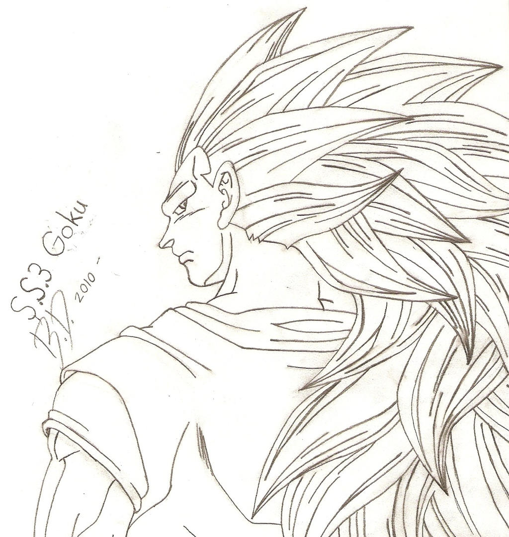 Goku super saiyan 3 drawing goku super saiyan 3 by