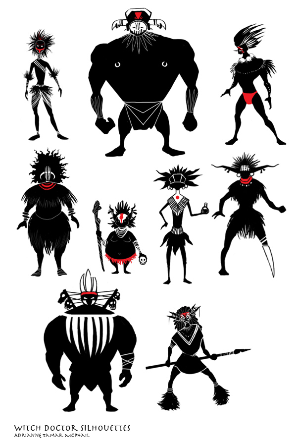 Witch Doctor silhouettes by SirenophiliaWitch Head Silhouettes