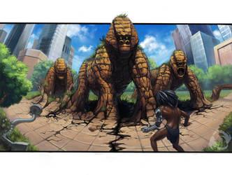 Tarzan vs. Stone Gorillas by Sirenophilia