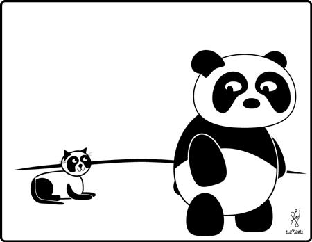 Panda and Kitty by mystikalyx