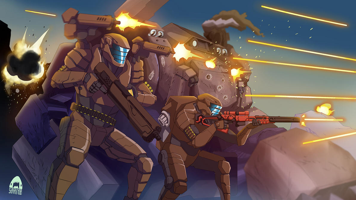 [COMMISSION] Scifi Soldier Under Shootout by sharknob