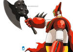 Getter Robo pointing his Axe