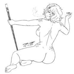 OC pick sketch: Nude Salome by WALKINGDEADMANN