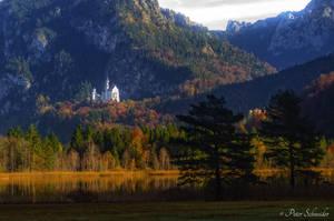 Neuschwanstein castle from swan lake. by Phototubby