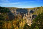 Cliffs in autumn colours.
