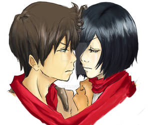 Mikasa and Eren close up