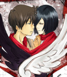 Eren and Mikasa finish close up