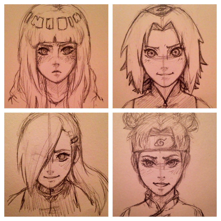 Girls of Konoha - sketches by Snappieta