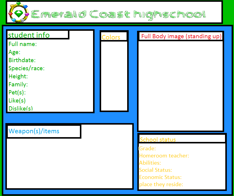 Emerald Coast High Student Registration Form by Sugary-Cakes