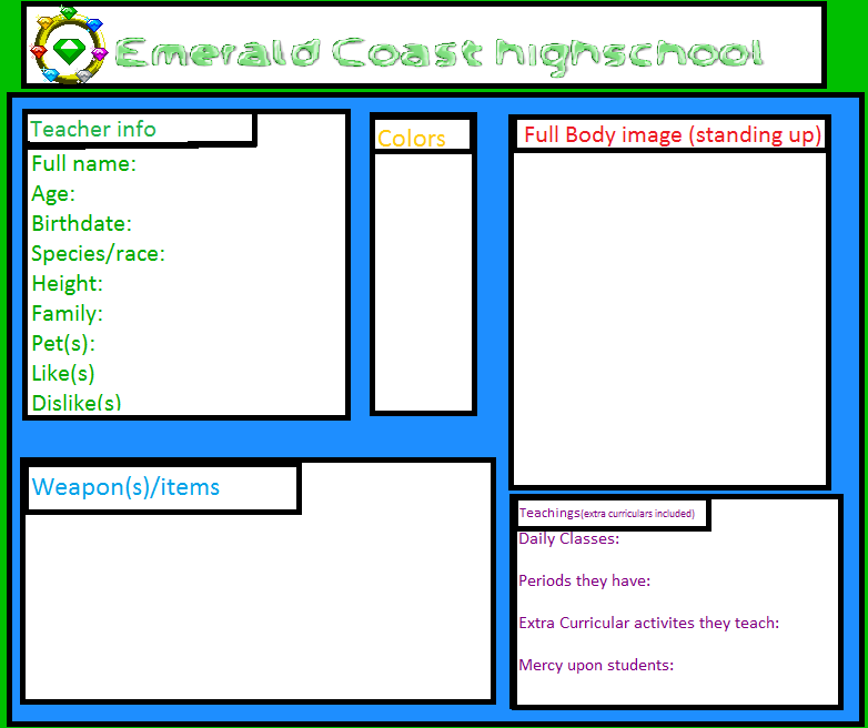Emerald Coast High Teacher Registration Form by Sugary-Cakes