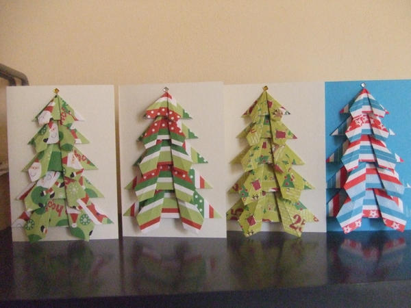 Origami christmas cards by sillygirlinlove on deviantart for How to make folded christmas cards