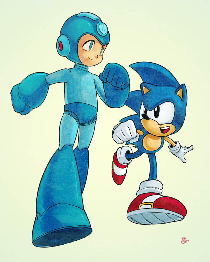 megaman and sonic by MIRRORMASTER