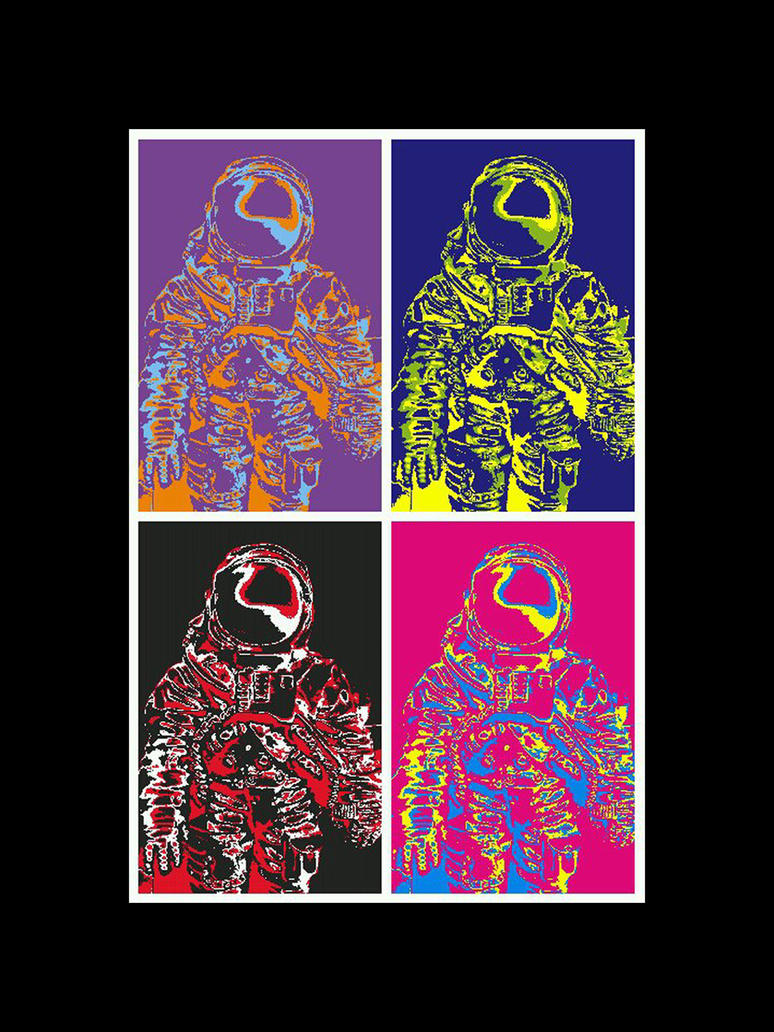 Wharhol Astronaut 4-panel by OpticaLLightspeed