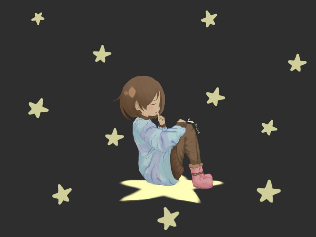 Frisk is among the stars by Neko-Llama