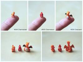 Pinkymon: Charmander, Charmeleon, Charizard by lonelysouthpaw
