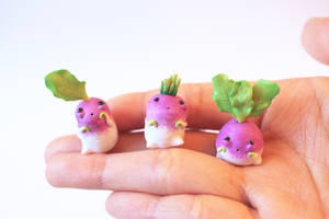 Radish Claybies by lonelysouthpaw