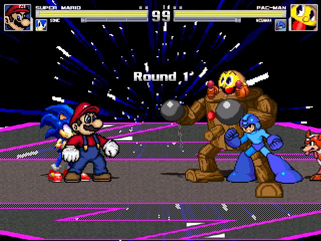 Mario Vs Sonic Vs Megaman Vs Pacman M.U.G.E.N. Mari...