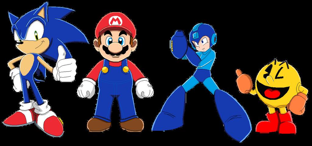 Mario Vs Sonic Vs Megaman Vs Pacman Mario, Sonic, P...