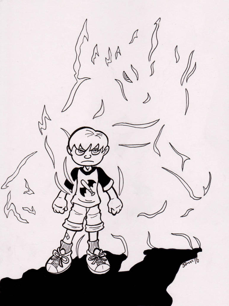 Inktober 2016 - [Crouching Kid,] Hidden [Monster] by Sea-Salt