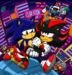 Sonic and Shadow - Getaway by Sea-Salt