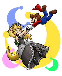 Bowsette and Mario