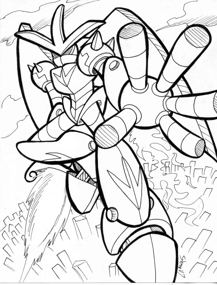 Coloring Sheet Giant Robot By Sea Salt