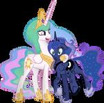 Celestia hugs confused Luna by Mr-Spider-The-Bug