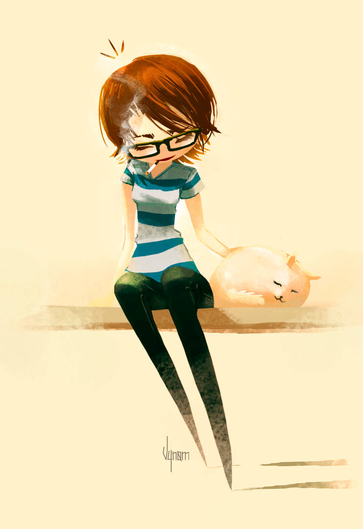 The girl who loves all animals by V-nom