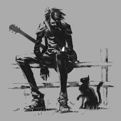 The musician, the cat and the butterfly