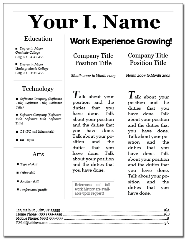 resume layout 3 by eriney on deviantart