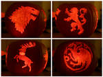 Winter is Coming : Game of Thrones Houses Pumpkin by JDGowing