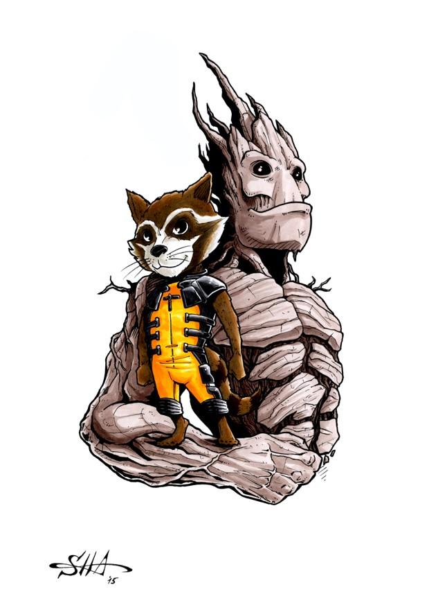 Rocket and Groot by Killersha