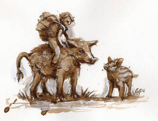 Boy and Boar