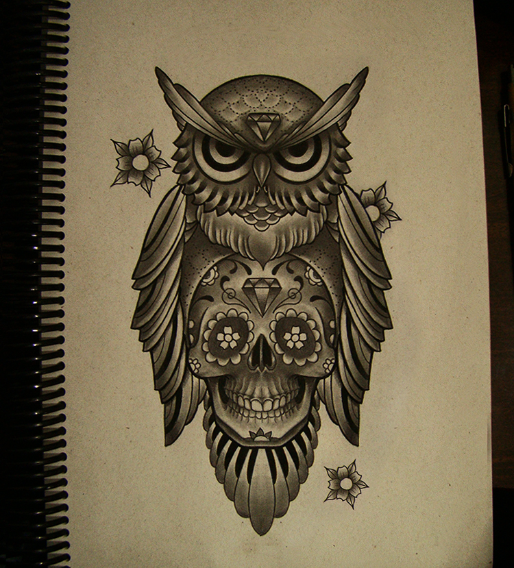 Owl mexican skull by frah on deviantart for Owl with sugar skull tattoo