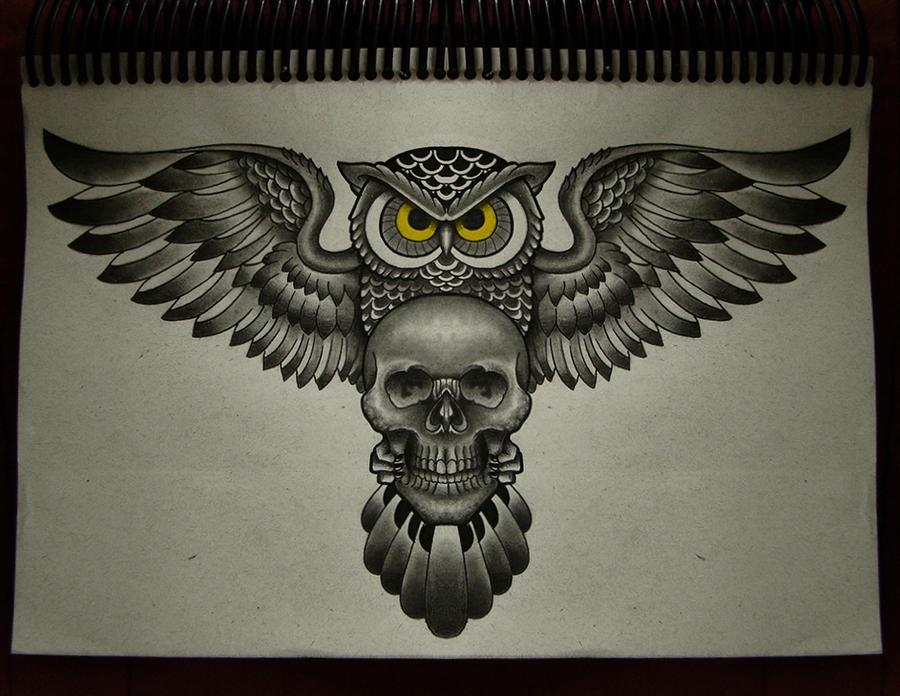 Owl skull ii by frah on deviantart for Owl tattoo skull