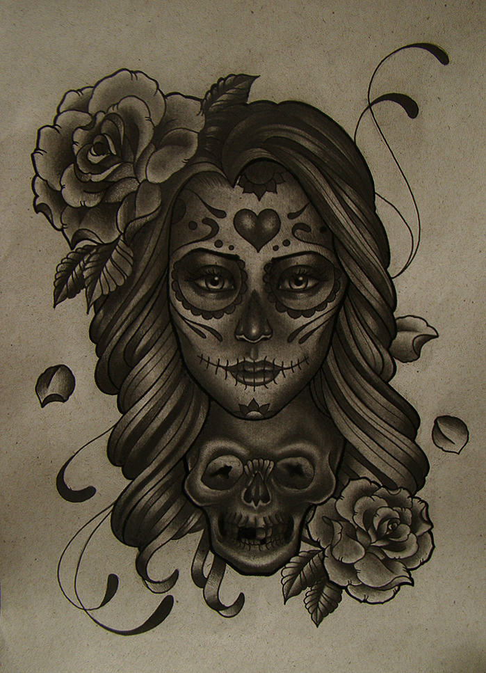 mexican girl skull by FraH on DeviantArt