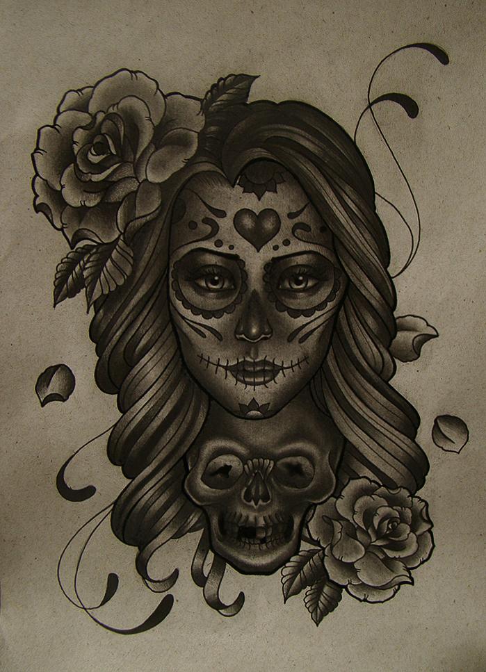 mexican girl skull by FraH