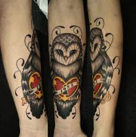 Owl tattoo heart II by FraH