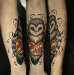 Owl tattoo heart II