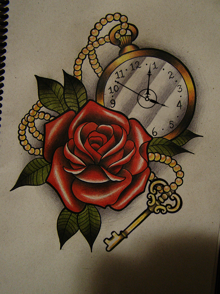 Rose Clock Tattoo Designs Drawing: Rose And Clock By FraH On DeviantArt