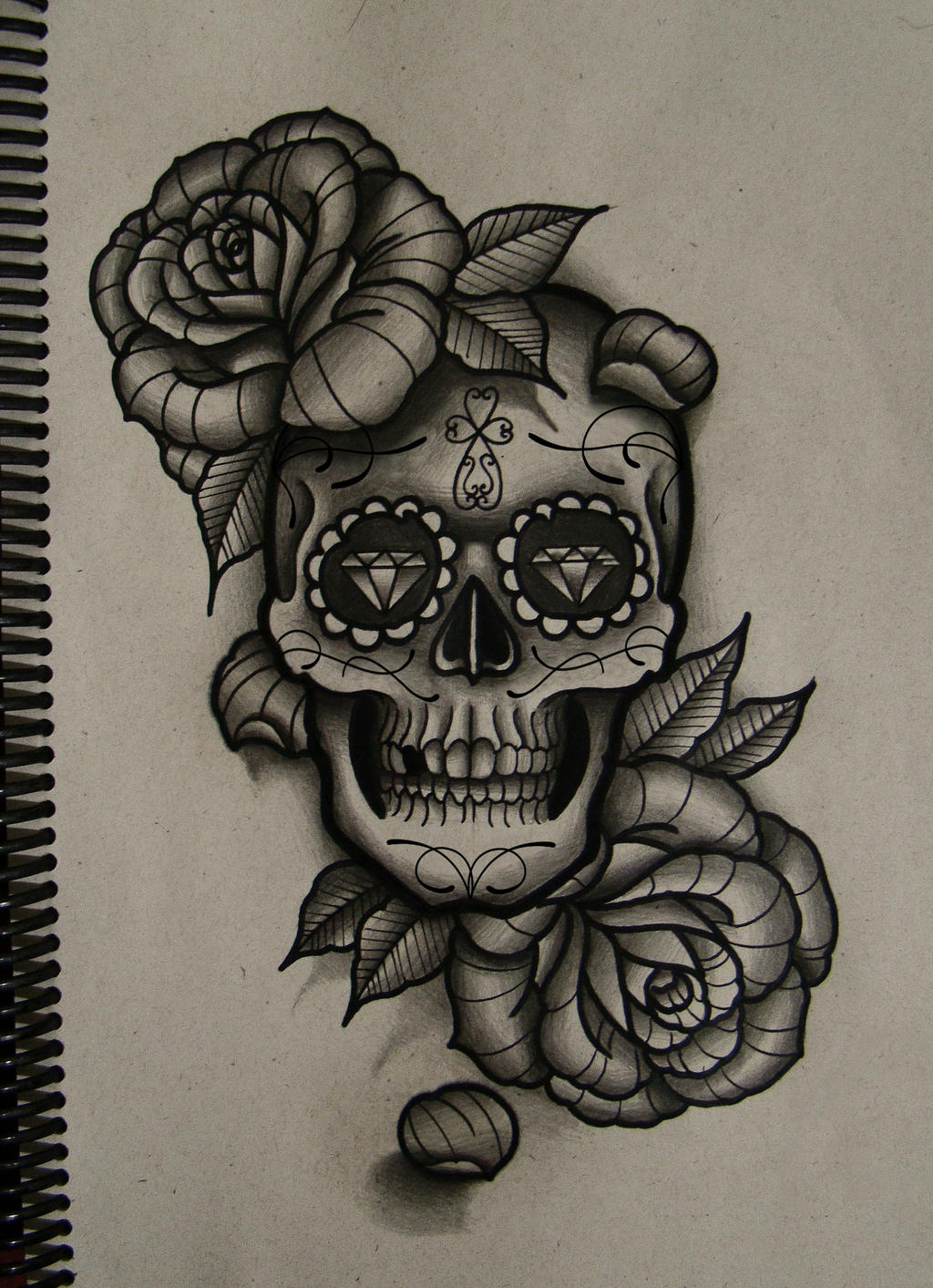 skull and roses by FraH