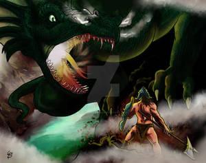 Guerriero con alabarda Vs Drago Verde