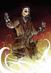 Stregone monco con maschera controlla il magma