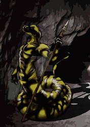 Uomo Salamandra con lancia